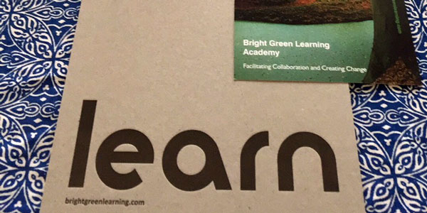 Bright Green Learning folder and postcard